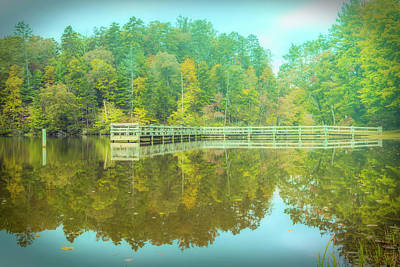 Photograph - Dock Reflections Misty Morning by Debra and Dave Vanderlaan