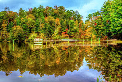 Photograph - Dock Reflections Painting by Debra and Dave Vanderlaan