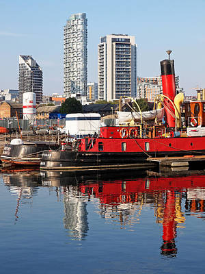 Photograph - Docklands Boats And Construction Vertical by Gill Billington