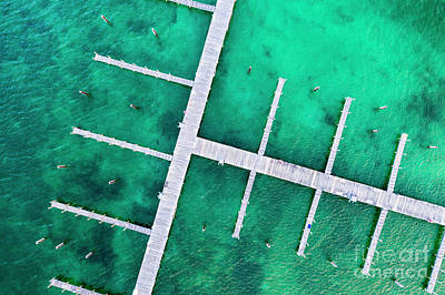 Royalty-Free and Rights-Managed Images - Docks in the Elk Rapids Harbor Aerial by Twenty Two North Photography