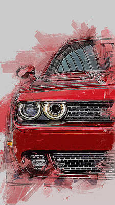 Painting - Dodge Challenger 2018 by Andrea Mazzocchetti