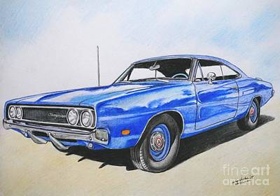 Painting - 1969 Dodge Charger 500 In Blue Color by Christopher Shellhammer