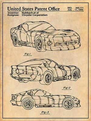 Super Cars Drawing - Dodge Viper Srt Antique Paper Patent Print by Greg Edwards