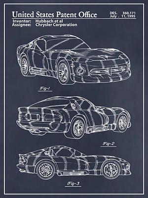 Super Cars Drawing - Dodge Viper Srt Blackboard Patent Print  by Greg Edwards