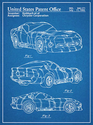 Super Cars Drawing - Dodge Viper Srt Blueprint Patent Print by Greg Edwards