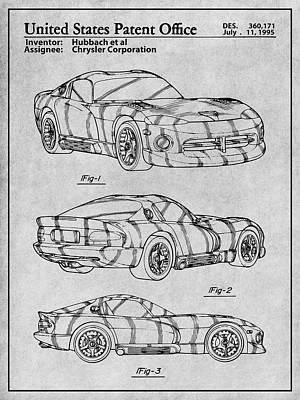Super Cars Drawing - Dodge Viper Srt Gray Patent Print  by Greg Edwards