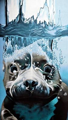 Beagle Wall Art - Painting - Dog Diver by ArtMarketJapan