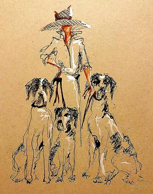 Drawing - Dog Walker  by C F Legette