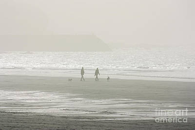 Photograph - Dog Walking On A Misty Sennen Cove Beach by Terri Waters
