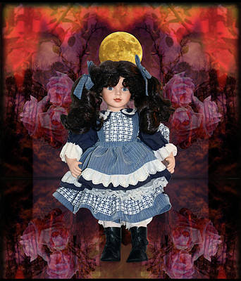 Cartoons Tees - Doll With Roses Under The Moon by Constance Lowery