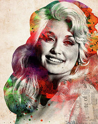 Digital Art Rights Managed Images - Dolly Parton colorful watercolor portrait Royalty-Free Image by Mihaela Pater