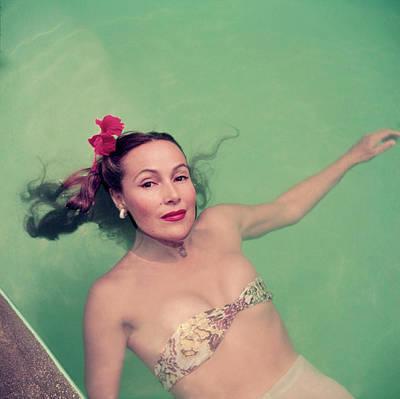 Swimwear Photograph - Dolores Del Rio by Slim Aarons