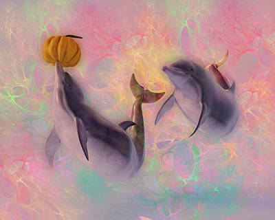 Digital Art Rights Managed Images - Dolphin Friends Play with Pumpkins Royalty-Free Image by Betsy Knapp