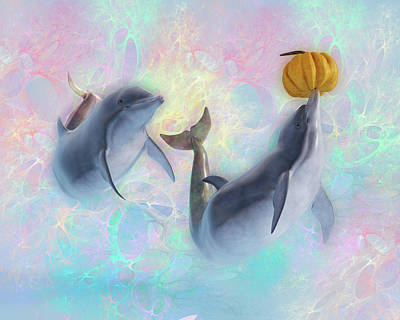 Digital Art Rights Managed Images - Dolphin Friends Playing with Pumpkins Royalty-Free Image by Betsy Knapp