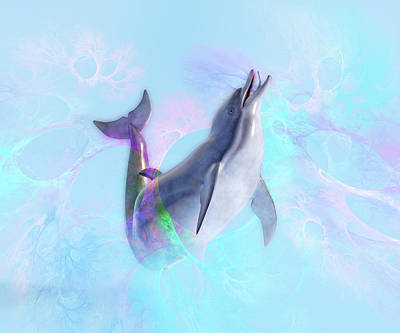 Digital Art Rights Managed Images - Dolphin New Worlds Royalty-Free Image by Betsy Knapp