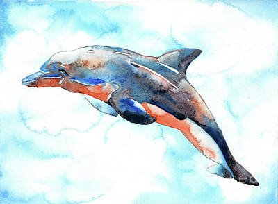 Painting - Dolphin Swimming by Ryan Fox
