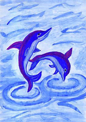 Painting - Dolphins by Dobrotsvet Art