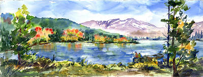 Painting - Donner Lake Fisherman by Joan Chlarson