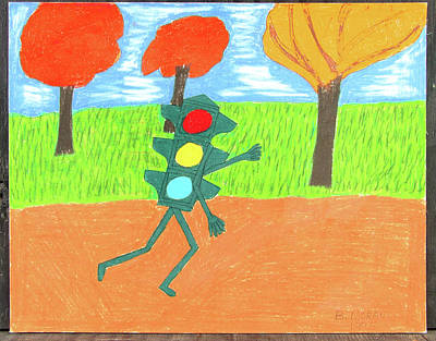 Drawing - Don't Walk by Barb Moran