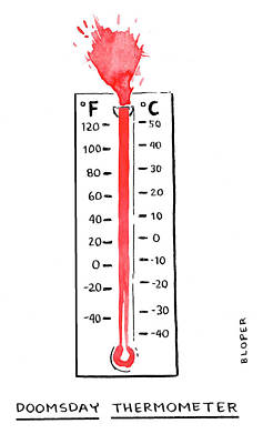 Cod Drawing - Doomsday Thermometer by Brendan Loper