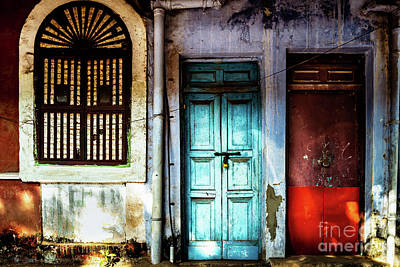 Doors Of India - Blue Door And Red Door Art Print