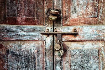 Photograph - Doors Of India - Four Lock Door by Miles Whittingham