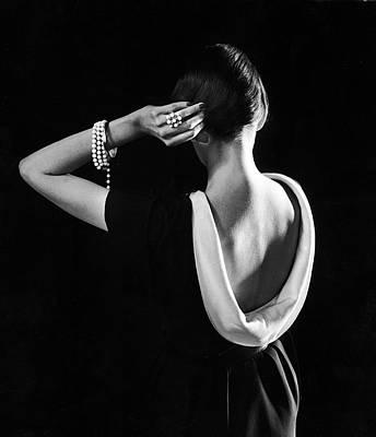 Photograph - Dorian Leigh In A Dior Dress by Gjon Mili