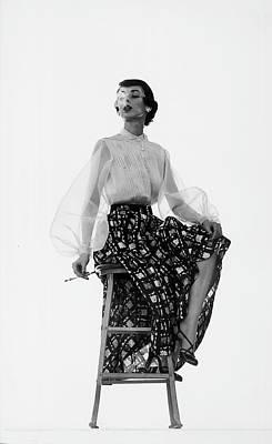 Photograph - Dorian Leigh Models by Gjon Mili