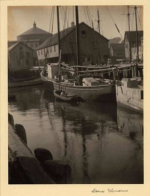 Superhero Ice Pops - Doris Ulmann   1882-1934 Boats in harbor with wharf and buildings in background by Doris Ulmann