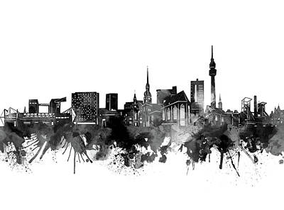 Abstract Skyline Royalty-Free and Rights-Managed Images - Dortmund Skyline Bw by Bekim M