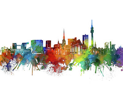 Abstract Skyline Royalty-Free and Rights-Managed Images - Dortmund Skyline Watercolor 2 by Bekim M