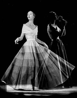 Photograph - Double Exposure Of Model Wearing Full Sk by Gjon Mili
