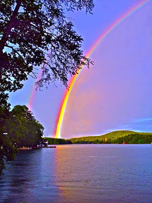 Photograph - Double Rainbow Across A Lake by Susan Leggett