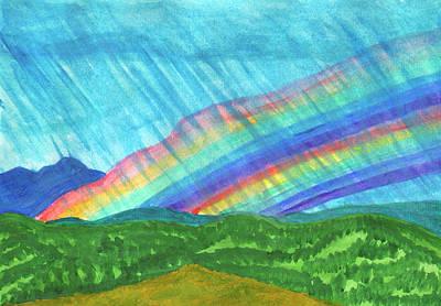 Womens Empowerment - Double rainbow and rain in the mountains by Irina Dobrotsvet