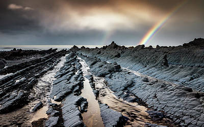 Photograph - Double Rainbow On The Rocks by Framing Places