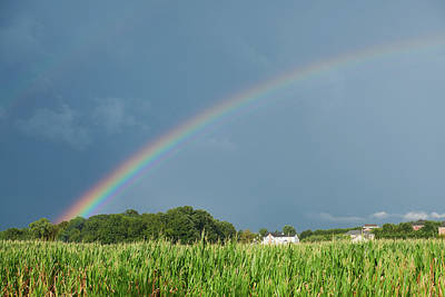 Photograph - Double Rainbow Over Corn Field by Walter Rowe