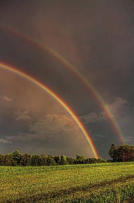 Photograph - Double Rainbow Over The Hay Field by Dale Kauzlaric
