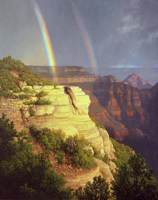 Painting - Double Rainbow Over The North Rim by John Cogan