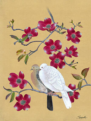 Digital Art - Doves In Red Dogwood Tree by M Spadecaller