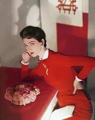 Photograph - Dovima In An Harvey Berin Dress by Horst P. Horst