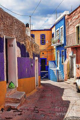 Photograph - Downhill Narrow Street In Guanajuato, Mexico 3 by Tatiana Travelways