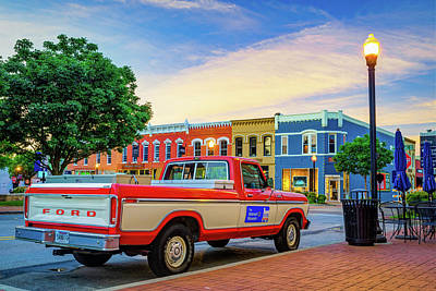 Photograph - Downtown Bentonville Arkansas Square Skyline And Sam Walton Walmart Museum Truck by Gregory Ballos