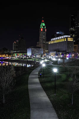 Photograph - Downtown Columbus Walkway At Night by Dan Sproul