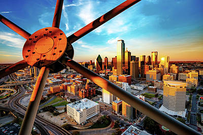 Photograph - Downtown Dallas Texas Skyline Through Reunion Tower by Gregory Ballos
