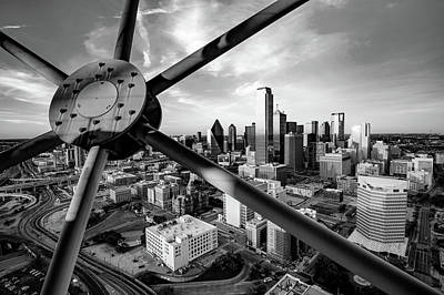Photograph - Downtown Dallas Texas Skyline Through Reunion Tower - Monochrome Edition by Gregory Ballos