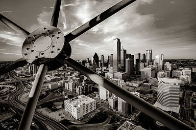Photograph - Downtown Dallas Texas Skyline Through Reunion Tower - Sepia Edition by Gregory Ballos