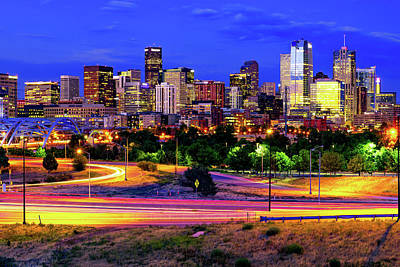 Royalty-Free and Rights-Managed Images - Downtown Denver Skyline In Vibrant Color by Gregory Ballos