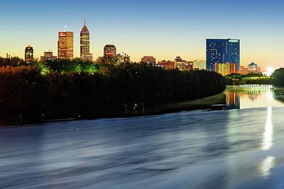 Photograph - Downtown Indianapolis Skyline On The White River by Gregory Ballos