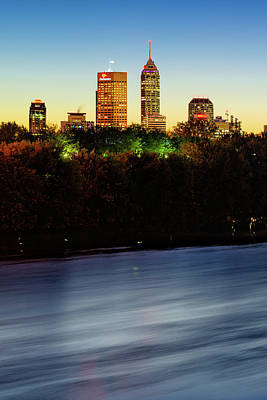 Photograph - Downtown Indy Skyline At Sunrise - Vertical Indiana Cityscape by Gregory Ballos