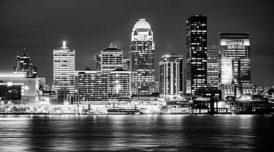 Photograph - Downtown Louisville Kentucky Skyline Panorama At Dusk - Monochrome by Gregory Ballos